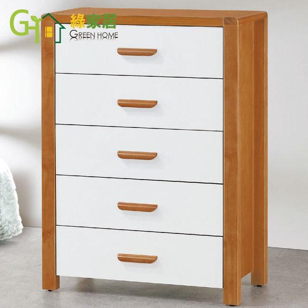 【綠家居】基姆 木紋雙色2.7尺五斗櫃
