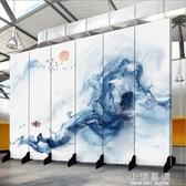 新中式屏風隔斷玄關時尚酒店臥室現代簡約辦公室水墨裝飾折疊布藝CY『小淇嚴選』