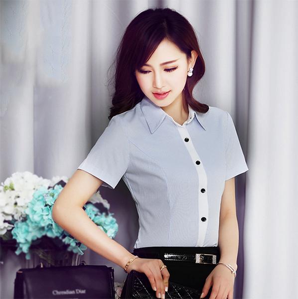 短袖OL條紋襯衫~*艾美天后*~白襯衫職業女裝商務面試裝正裝工作服辦公襯衫