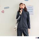 《KG1076》校園運動小立領雙織帶拼接外套 OrangeBear
