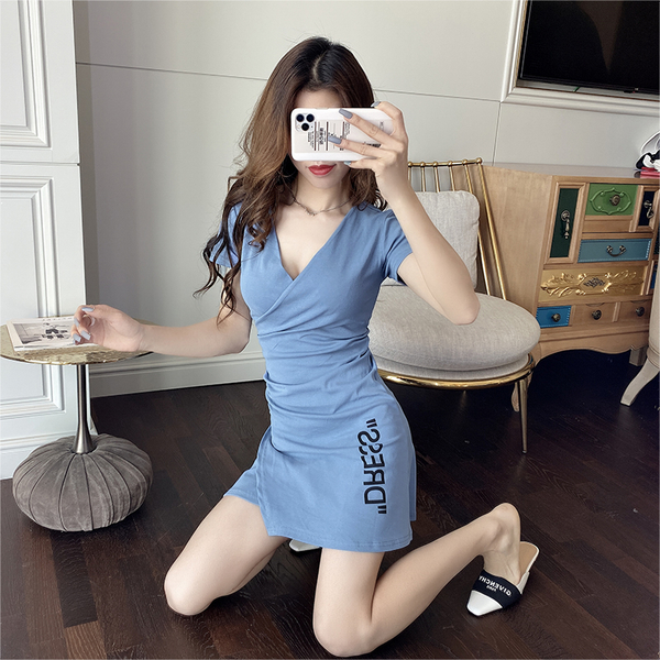 VK旗艦店 韓國風性感顯瘦氣質V領不規則修身短袖洋裝