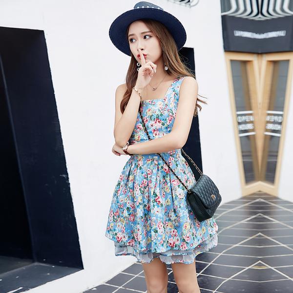 洋裝 韓版印花後背繫帶蓬蓬裙連身裙 2色 S-XL #ynn6561 ❤卡樂store❤