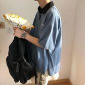 全館85折超火cec短袖polo衫男T恤寬鬆潮牌潮流歐美動漫印花5五分袖體恤衫