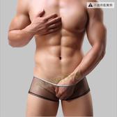 男性內褲 極致輕薄超細網紗透視平角褲(潮黑)-XL-玩伴網【滿額免運】