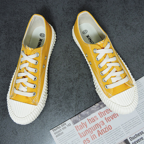 X-INGCHI 女款黃色帆布餅乾鞋-NO.x0018