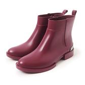 Petite Jolie  簡約時尚金屬短靴-酒紅色