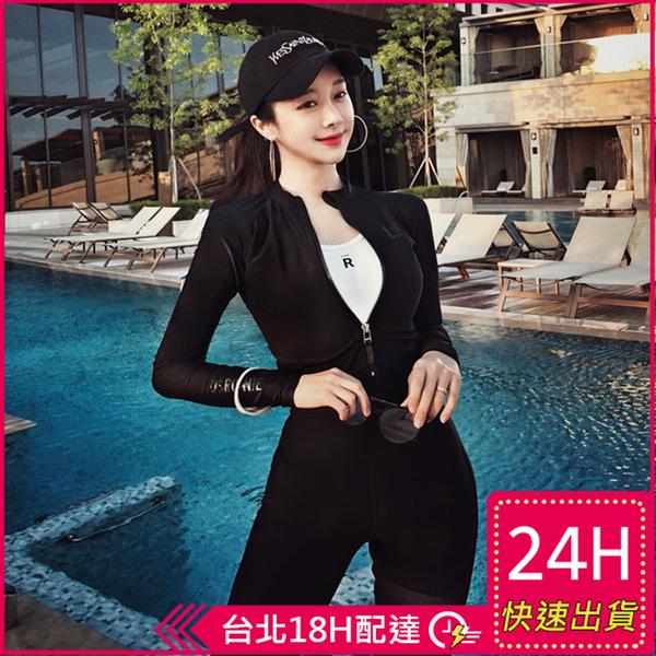 【現貨】梨卡 - 甜美[顯瘦有胸墊+長袖防曬]黑色加大尺碼潛水服外套四件式長褲泳衣泳裝CR543
