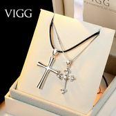 項鍊一對韓版男女學生簡約十字架創意潮人森繫鎖骨鍊 野外之家igo