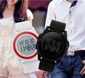 手錶時刻美輕薄秒錶倒計時多功能電子錶智慧運動男女學生夜光LED手環 DF星河~
