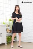 黑色洋裝--低調華麗優雅圓領可愛鳳梨刺繡顯瘦飄逸雪紡洋裝(黑L-3L)-D483眼圈熊中大尺碼◎