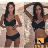 比基尼泳衣女性感修身顯瘦聚攏高腰綁帶三點式 沙灘泳裝【慢客生活】