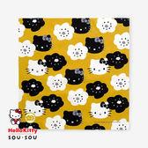 〔小禮堂〕Hello Kitty SOUSOU 日製紗布方形毛巾《黃黑.大臉花朵》50x50cm.手帕.餐巾 4992272-62513