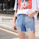 休閒褲--時尚休閒個性破洞毛邊織帶吊環鬆緊口袋修身牛仔短褲(藍XL-5L)-R221眼圈熊中大尺碼