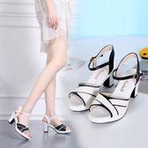 降價優惠兩天-魚口鞋女士涼鞋新品夏季厚底楔形粗跟中跟百搭露趾魚嘴一字扣時尚高跟鞋 34-41
