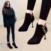 正韓加絨高跟鞋尖頭馬丁靴細跟百搭貓跟鞋女新款秋冬季短靴子
