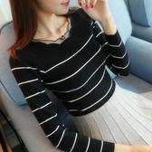 條紋針織衫女套頭2018秋裝新款韓版百搭短款長袖修身毛衣打底衫女