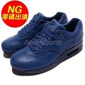 【US7-NG出清】Nike 復古慢跑鞋 Wmns Air Max 1 Pinnacle 右腳鞋頭汙損 藍 黑 皮革 女鞋 運動鞋【PUMP306】