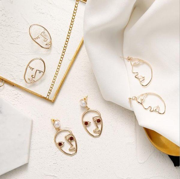 趣味 搞怪 抽像 人臉 耳釘 珍珠 鋯石 鏤空 耳環 女 復古 誇張 側臉 耳飾437