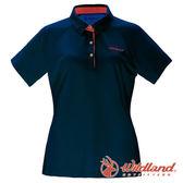【wildland 荒野】女 涼感POLO本布領短袖上衣『深藍』0A71605 T恤 POLO衫 上衣 短袖 排汗 休閒 戶外