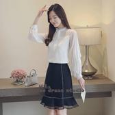 依二衣 秋季新款韓版立領蕾絲衫蝴蝶結上衣