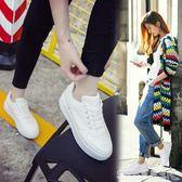 皮面小白鞋女春季chic鞋子百搭韓版厚底港味板鞋學生白鞋 『CR水晶鞋坊』
