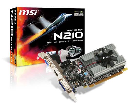 全新 微星 N210-MD1G/D3 1G DDR3 64bit PCI-E 3D圖形加速卡