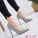 高跟鞋 大碼黑色漆皮紅底高跟鞋女2021年新款設計感小眾氣質細跟尖頭單鞋 小天使 618