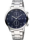 agnes b. 法國時尚藝術時尚計時腕錶-藍x銀/40mm VD57-00A0B(BM3006J1)