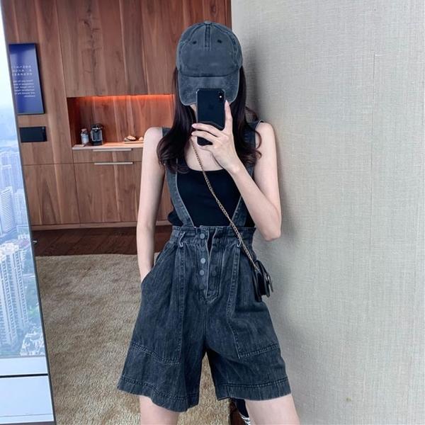 夏季2020新款時尚網紅韓版小個子洋氣減齡寬鬆牛仔闊腿吊帶短褲女 【ifashion·全店免運】