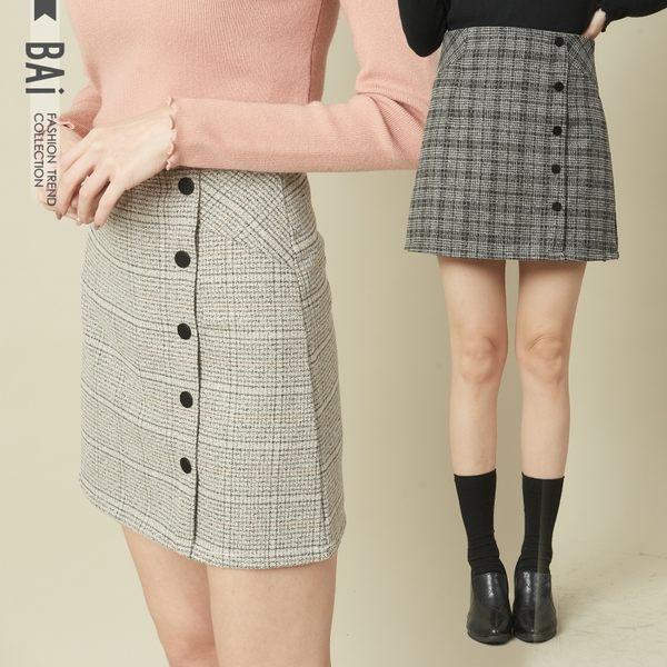 褲裙 線條格紋配色側排釦拉鍊A字裙S~L號-BAi白媽媽【161300】