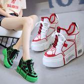 內增高女鞋10cm休閒運動鞋女新款冬季百搭超火厚底鞋 萬客居