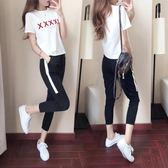 運動休閒套裝女夏季短袖2018新款顯瘦韓版時尚兩件套九分褲夏天潮   初見居家