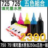 【五色空匣含晶片+250cc墨水組】CANON 725+726 五色一組 填充式墨水匣