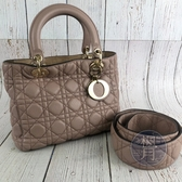 BRAND楓月 Christian Dior 迪奧 M0575 膚色LADY DIOR 兩用包 手提包 斜背包 肩背包