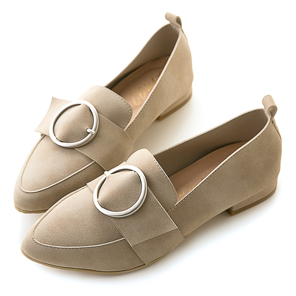 amai親膚皮革-時尚霧面圓環尖頭樂福鞋 灰