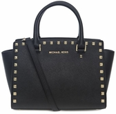 Michael Kors Selma Medium Studded Saffiano Leather Satchel