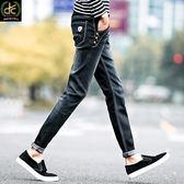 韓版三花扣小標顯瘦修身牛仔褲 黑《P3236 》