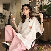刺繡大碼短袖T恤韓版寬松中長款上衣女【聚可愛】