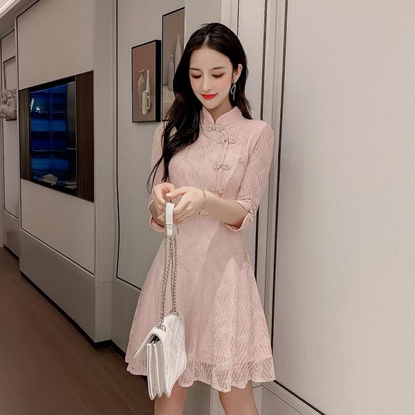 絕版出清 中國風蕾絲復古文藝盤扣中袖禮服長袖洋裝