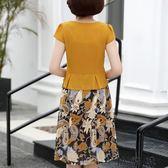 媽媽夏裝短袖連身裙中年女裝