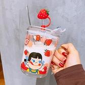 咖啡杯可愛玻璃杯帶把手帶吸管家用水杯耐熱防燙牛奶早餐咖啡辦公室杯子 寶貝