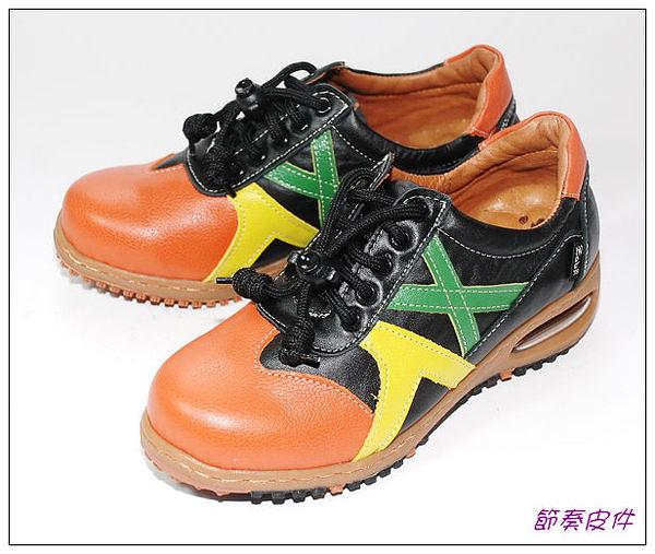 ~節奏皮件~☆路豹休閒鞋  編號 BB209  (柑彩色)