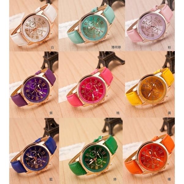 熱賣質感系 馬卡龍14色時尚潮流錶 百搭學生仕女錶 大面錶 韓版手錶三眼錶 手表 皮帶表【4G手機】