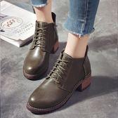 新品粗跟馬丁靴防滑繫帶英倫復古裸靴短靴側拉?女靴 年貨必備 免運直出