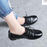 黑色小皮鞋女夏新款韓版百搭平底單鞋女休閒鞋媽媽鞋   聖誕節快樂購
