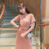 洋裝 夏季新款短袖T恤連身裙收腰顯瘦中長款開叉裙子 依Baby