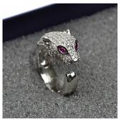 米蘭 高品質925純銀微鑲男女情侶豹子頭戒指 鑲鑚滿鑚logo豹頭指環