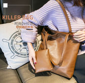 2018新款正韓肩背手提包休閒簡約子母包潮流托特包通勤包女包大包