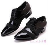中大尺碼男士皮鞋 黑色尖頭增高休閒鞋2019新款英倫韓版亮皮黑色系帶 DR23612【Rose中大尺碼】
