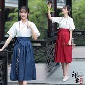 漢服古裝原創設計改良漢服刺繡交領襦裙日常漢元素兩件套畢業班服 限時降價